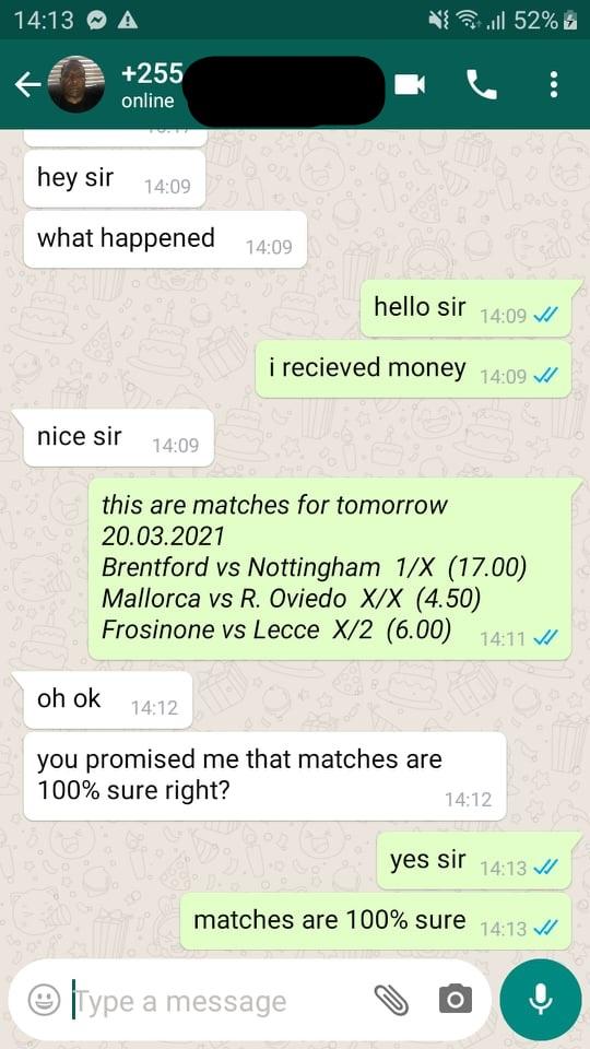fixed matches paid via mpesa university